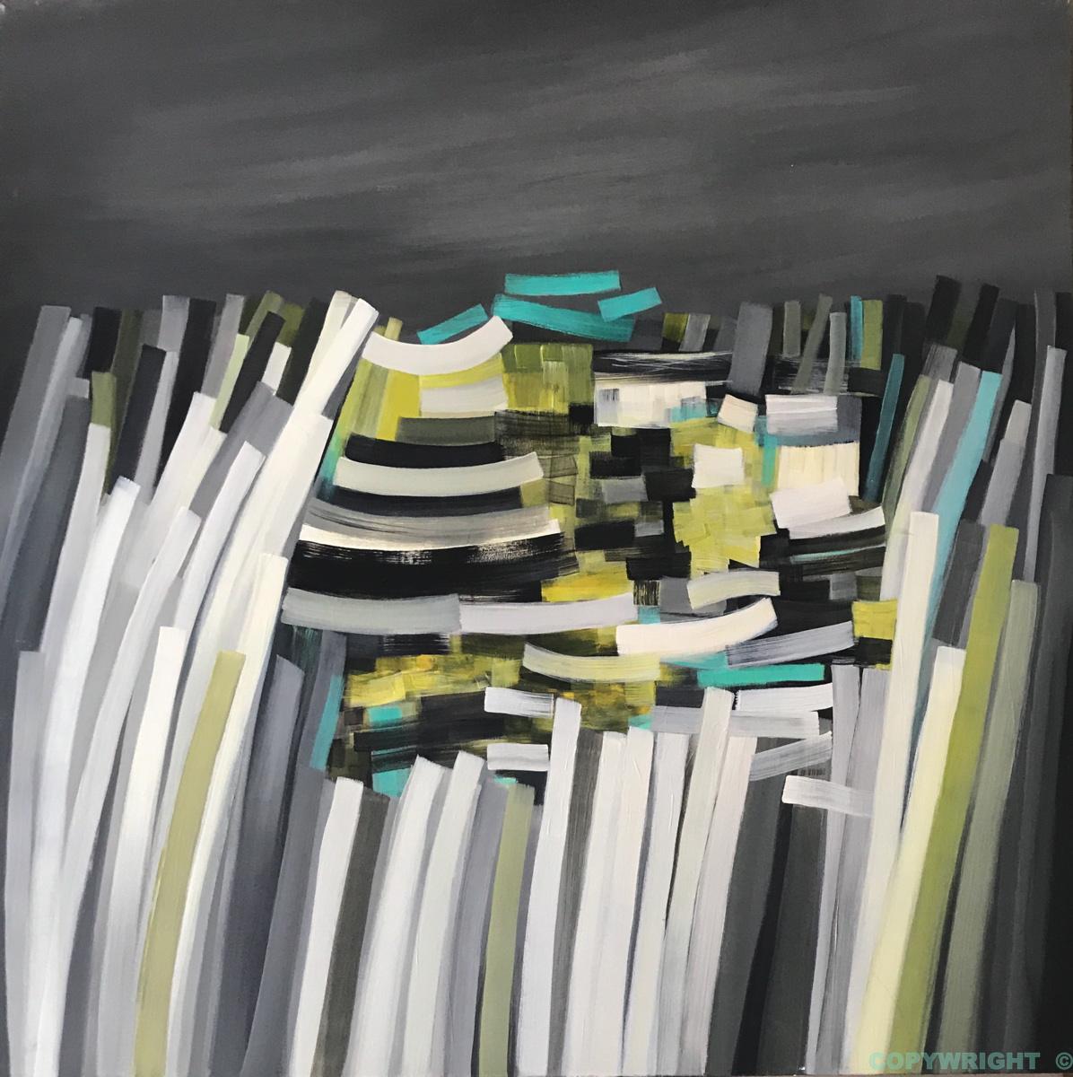 art-peinture- abstraction-tableau-colonnes en équilibre, structures verticales et horizontales sur ciel sombre-Nathalie Noël