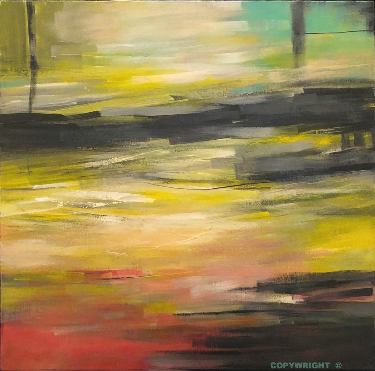 art-peinture- abstraction-tableau-ambiance feutré d'un paysage de souvenirs-Nathalie Noël
