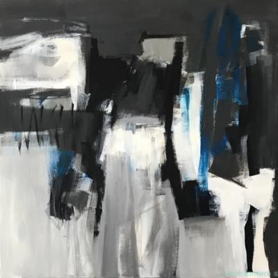 art-peinture- abstraction-tableau-des touches de bleu s'immiscent entre le blanc et le noir-Nathalie Noël