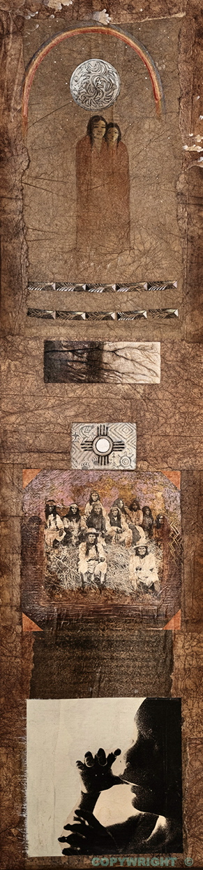 personnage symbolique ton sépia, bébé, femmes groupe indigènes, lune, Hélène Paré