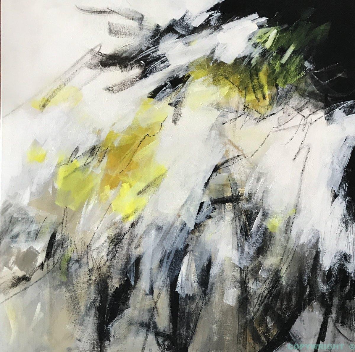 art-peinture- abstraction-tableau-éclats de blanc et de jaune contre le gris-Nathalie Noël