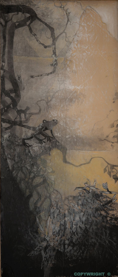 végétaux sombre devant un plan d'eau et une montagne lumineuse, Hélène Paré