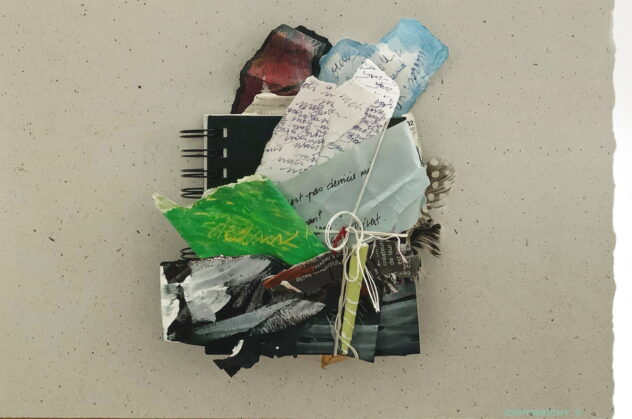 abstraction, collage, papiers et cartons déchirés, médiums mixtes, Sylvie Brodeur