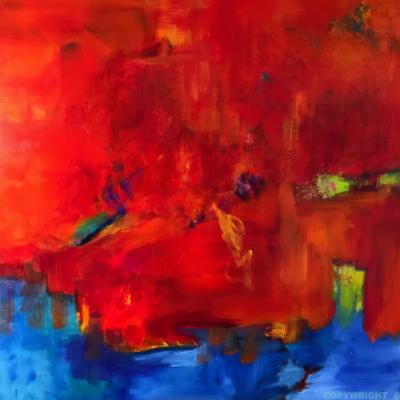 art-peinture- abstraction-tableau-l'eau qui consume le feu, le renouveau - Lise Brassard