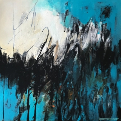 art-peinture- abstraction-tableau-aurore boréale turquoise et noire-Nathalie Noël