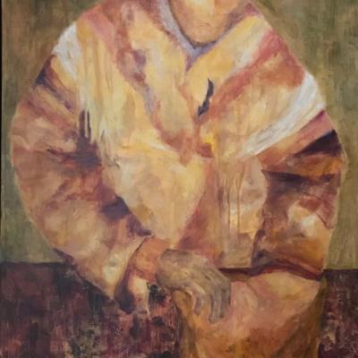 art-peinture-acrylique-couleurs ocres- personnage-homme assis en position de réflexion-Hélène Patenaude