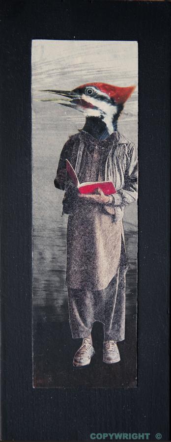 un personnage à tête de pic fait la lecture, Hélène Paré