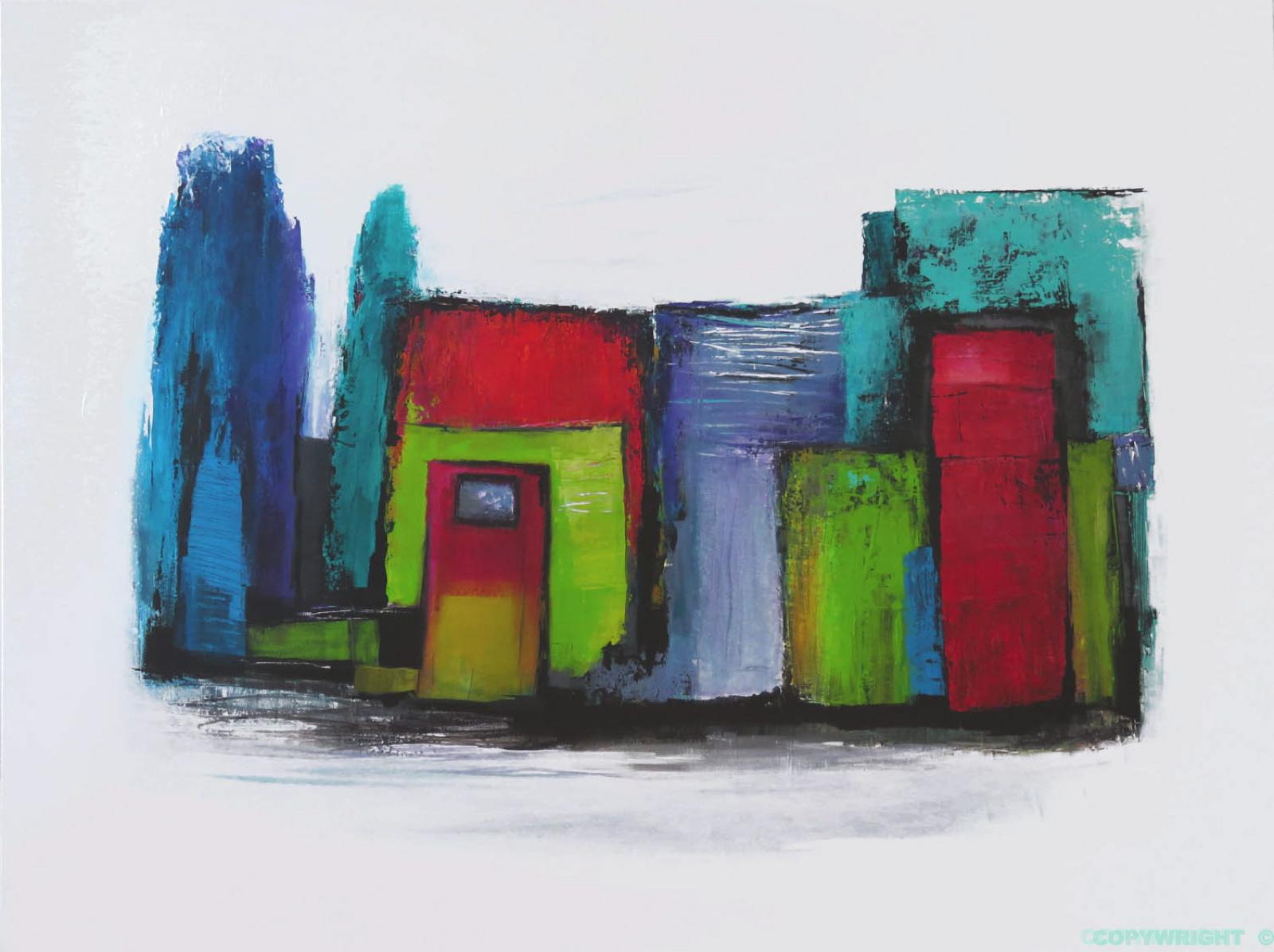art-peinture- abstraction-tableau-arrière cour colorée-portes de ruelle-Nathalie Noël