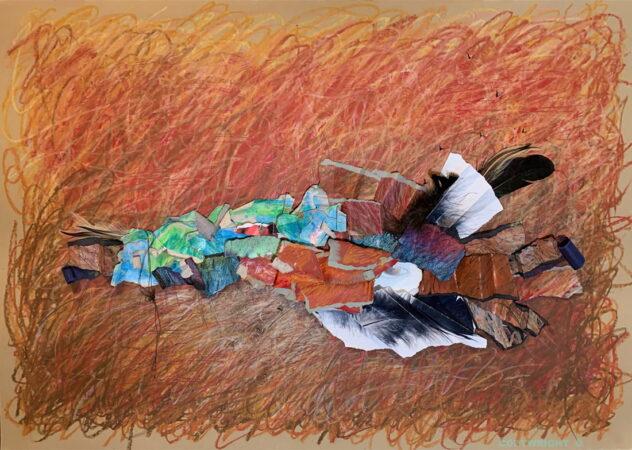 abstraction, collage mixte et pastel gras, Sylvie Brodeur