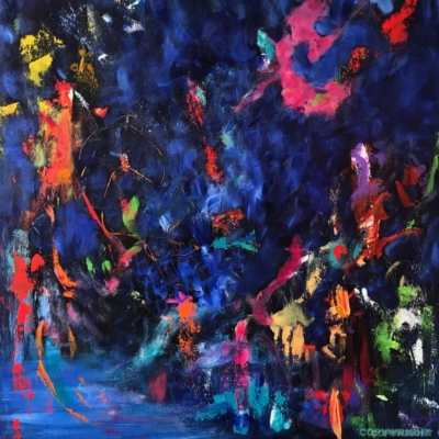 art-peinture- abstraction-tableau-bord de l'eau, les fleurs, promenade - Lise Brassard