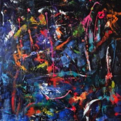 art-peinture- abstraction-tableau-un fond marin très animé - Lise Brassard