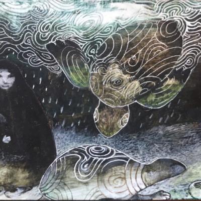 une mère et un enfant sous la pluie avec deux tortues de mer, Hélène Paré