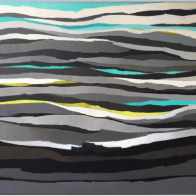 art-peinture- abstraction-tableau-zébrures grises et turquoise- Nathalie Noël