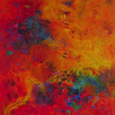 art-peinture- abstraction-tableau-un oeil qui nous surveille, un ange-gardien? - Lise Brassard