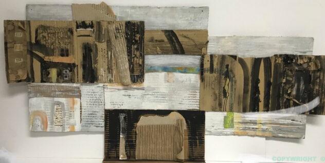 art-abstraction-collage-acrylique-encre-carton-sculpture-paysage urbainHélène Patenaude