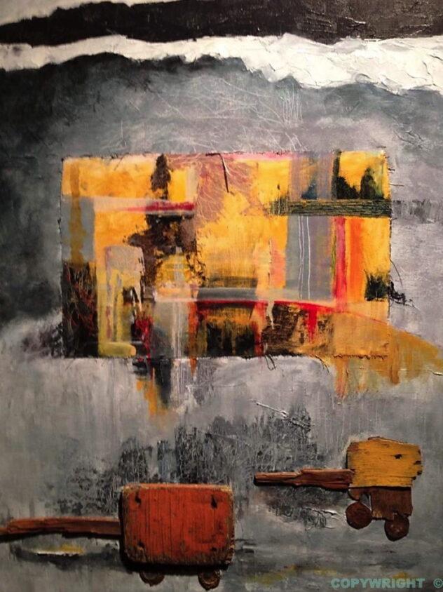 art-abstraction-collage-acrylique-bois-métal-sur-toile-paysage urbain-Hélène Patenaude