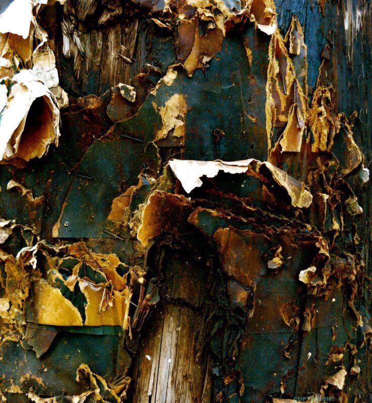 photo, peinture écaillée, affiche altérée par le temps sur poteau, Hélène Paré