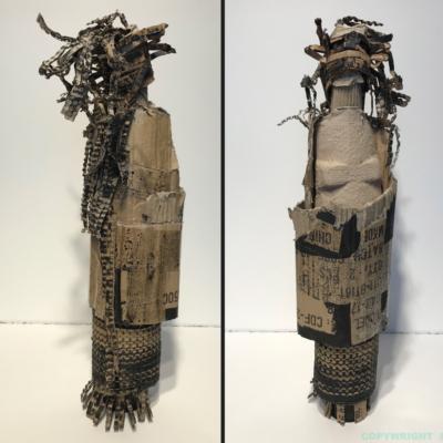 art-sculpture-personnage-femme de carton enmaillottée dans divers objets recyclés-Hélène Patenaude
