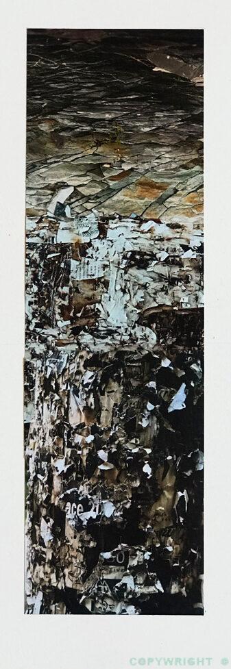 abstraction, un paysage de pierres tourmentées, collage de papier, Hélène Paré