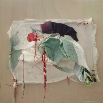 abstraction, assemblage de papier sur bois Sylvie Brodeur