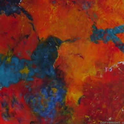 art-peinture- abstraction-tableau-une bataille entre l'eau et la terre, qui va gagner? - Lise Brassard
