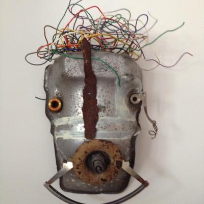 art-sculpture-masque- objets recyclés-Hélène Patenaude