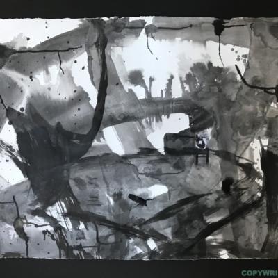 art-abstraction-collage-encre de chine sur papier- du noir au blanc en passant par les divers gris-Hélène Patenaude