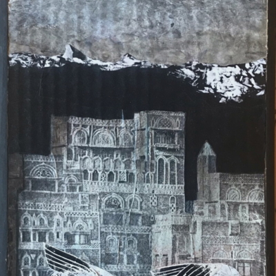 figuratif, 2 animaux ailés devant des édifices anciens, un monde imaginaire, Hélène Paré
