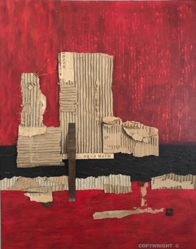 art-abstraction-collage-acrylique-carton-métal-sur-toile-structure architecturale urbaine - Hélène Patenaude